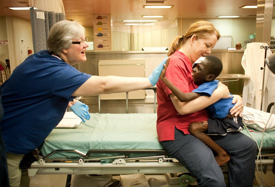 aboard the USNS Comfort off of the coast of Port au Prince, Haiti, Monday, February 20, 2010.
