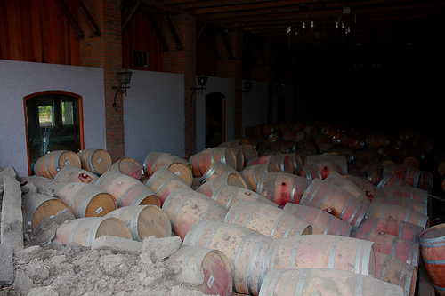 Chilean Barrels of Wine Toppled by Earthquake