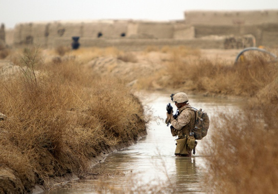 Soldier in stream