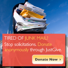 Stop donation solicitations: Donate anonymously through JustGive