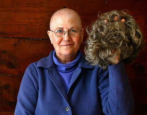 Woman with Breast Cancer, and wig