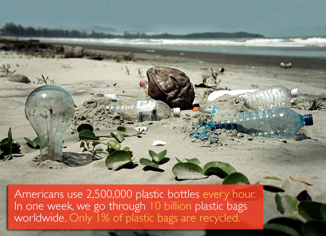 Americans use 2,500,000 plastic bottles every hour. In one week we go through 10 billion plastic bags worldwide. Only 1% of plastic bags are recycled.