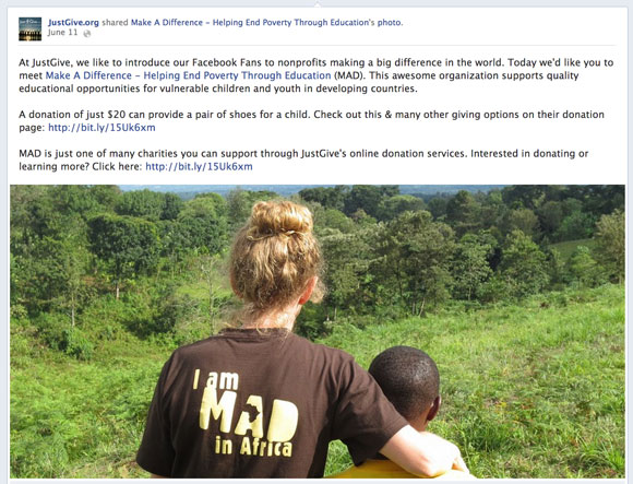 JustGive features nonprofits on facebook
