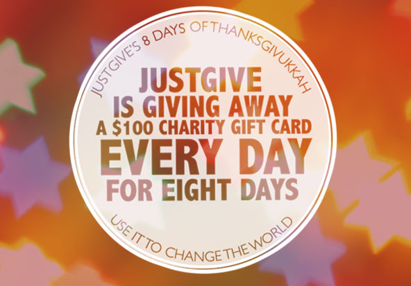 JustGive is giving away a $100 charity gift card every day for eight days