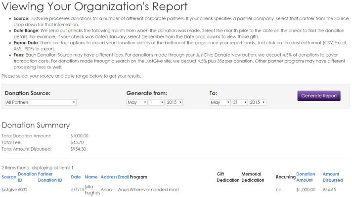 donation report