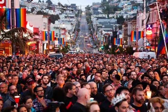 Thousands gather during the Sunday evening vigil in San Francisco's Castro district to mourn and honor the victims of the massacre at Orlando's Pulse nightclub. Photo: Gabrielle Lurie, Special To The Chronicle