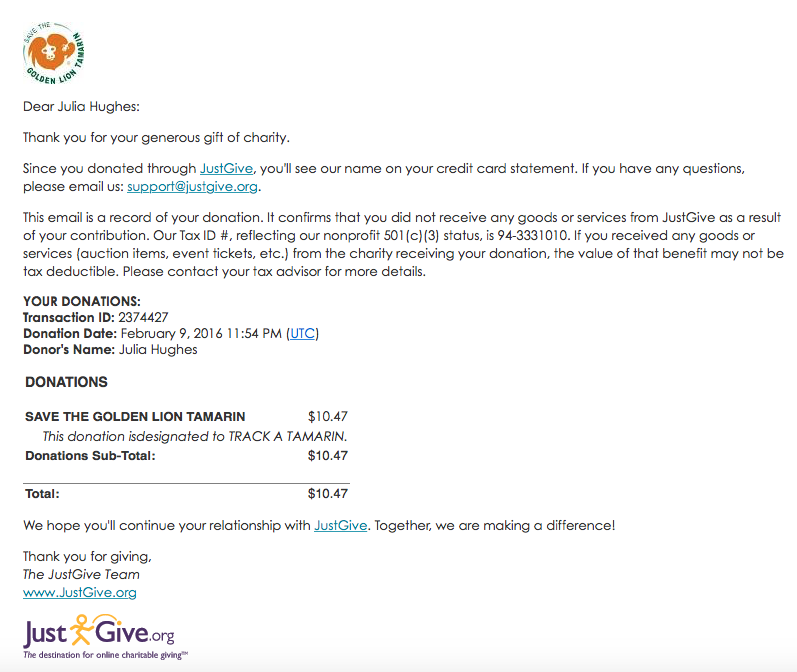 Featured Nonprofit FAQ: Personalized Donation Receipt