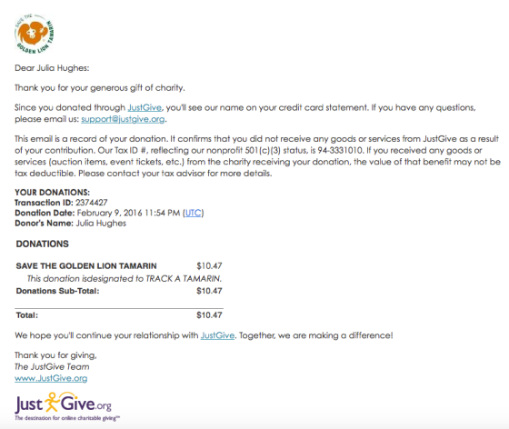 featured nonprofit faq personalized donation receipt justgive